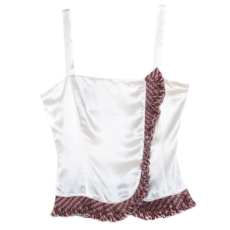 Emporio Armani Cream Satin Silk Ruffled Trim Sleeveless Top S