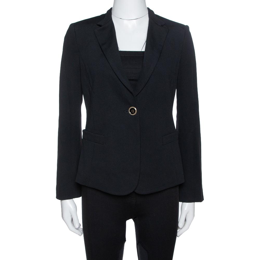 Pre-owned Emporio Armani Black Stretch Knit Fitted Blazer M