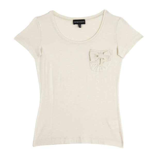 Emporio Armani Beige Pocket T-Shirt with Bow