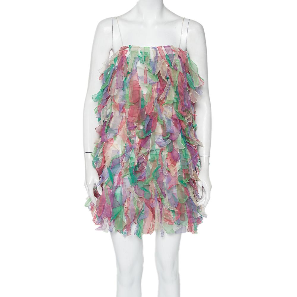 Pre-owned Emporio Armani Multicolor Textured Organza Sleeveless Mini Dress S
