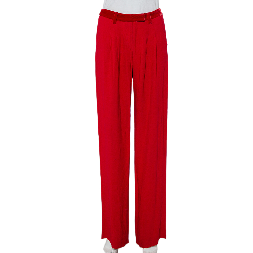 Pre-owned Emporio Armani Red Crepe & Velvet Trim Wide Leg Pants S