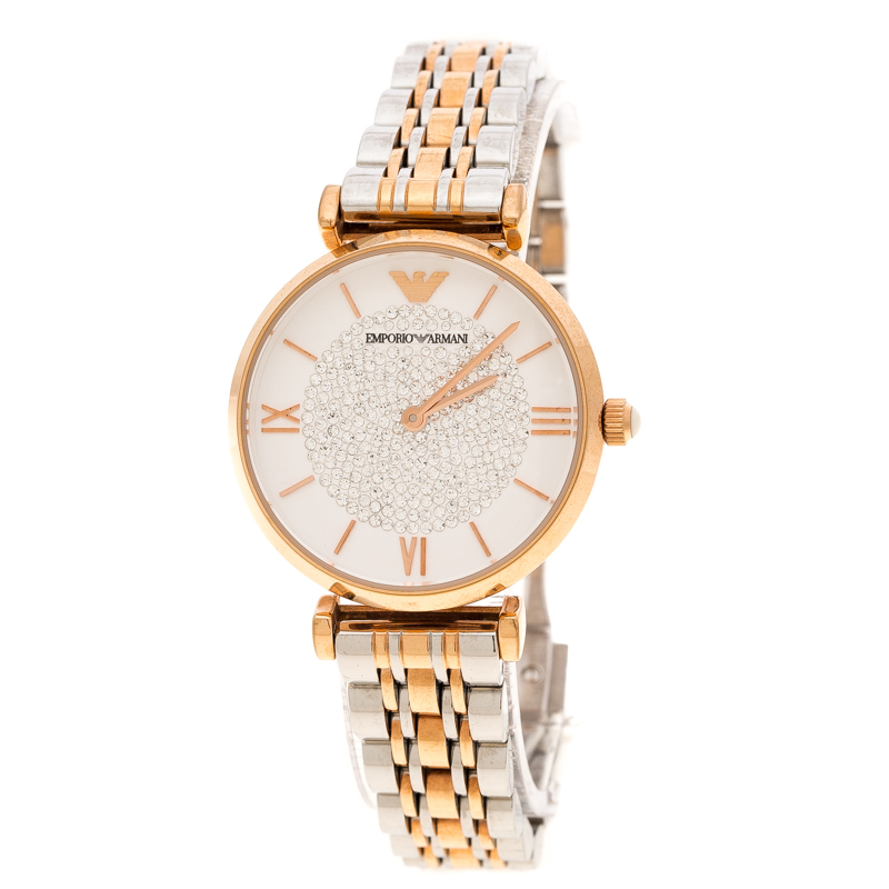 d4653a0d77d1 ... Emporio Armani White Crystal Two Tone Stainless Steel AR1926 Women s  Wristwatch 32MM. nextprev. prevnext