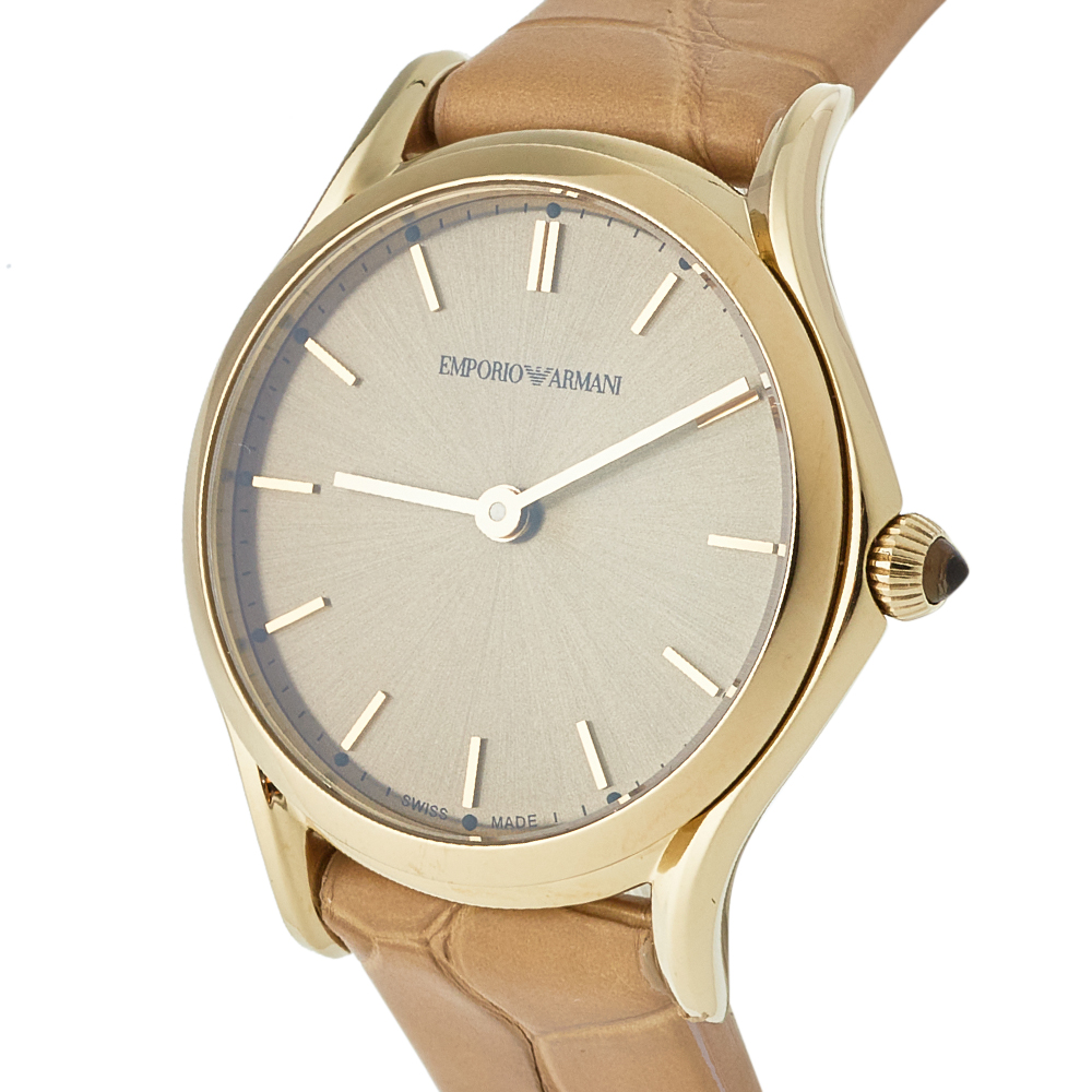 Emporio Armani Brown Gold Plated Stainless Steel & Leather Classic Women's Wristwatch