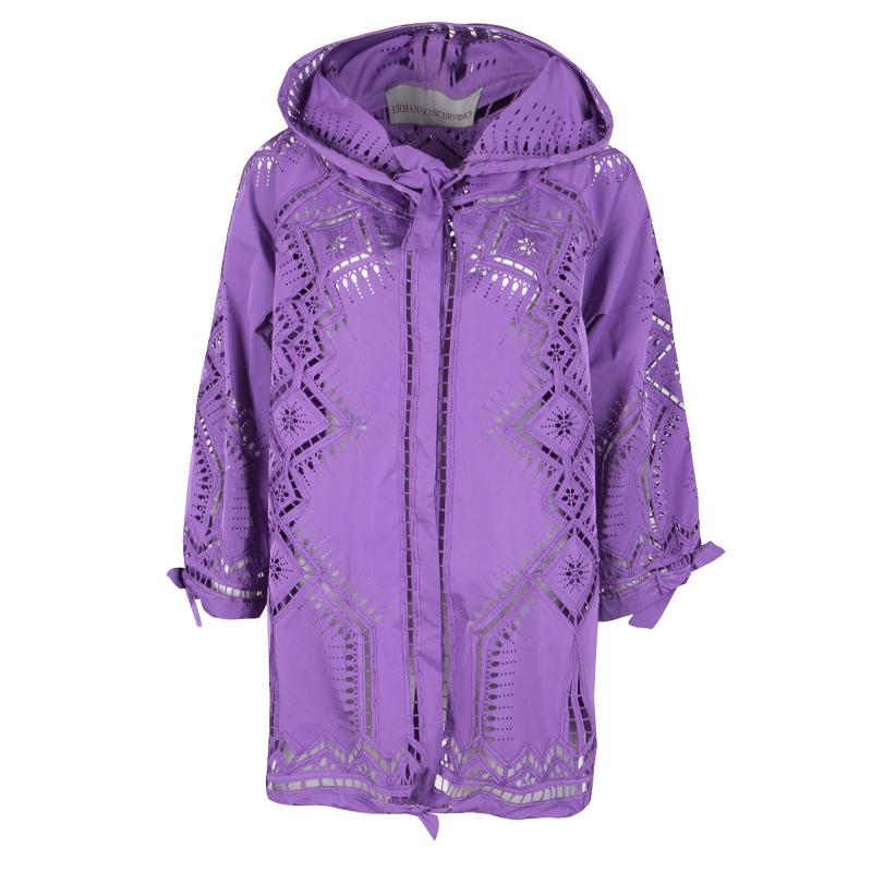 33d40c78b Buy Ermanno Scervino Purple Laser Cut Hooded Button Front Jacket M ...