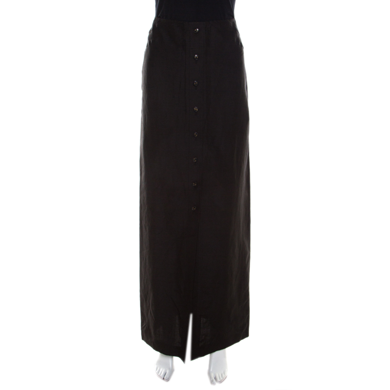 17509af97 Buy Escada Black Linen Silk Button Front Maxi Skirt M 200475 at best ...