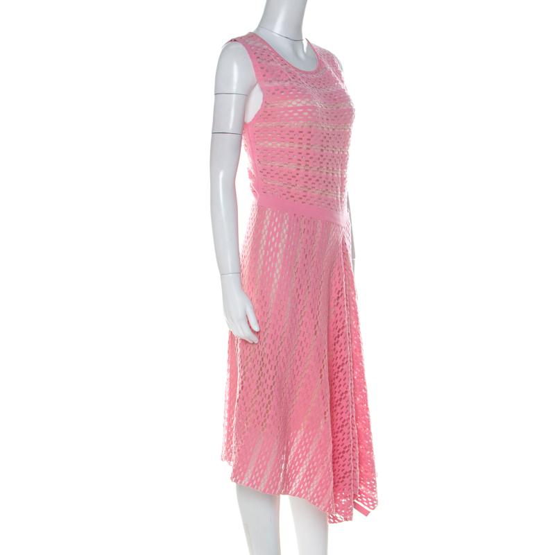 Escada Pink Perforated Knit Asymmetric Hem Sleeveless Dress M