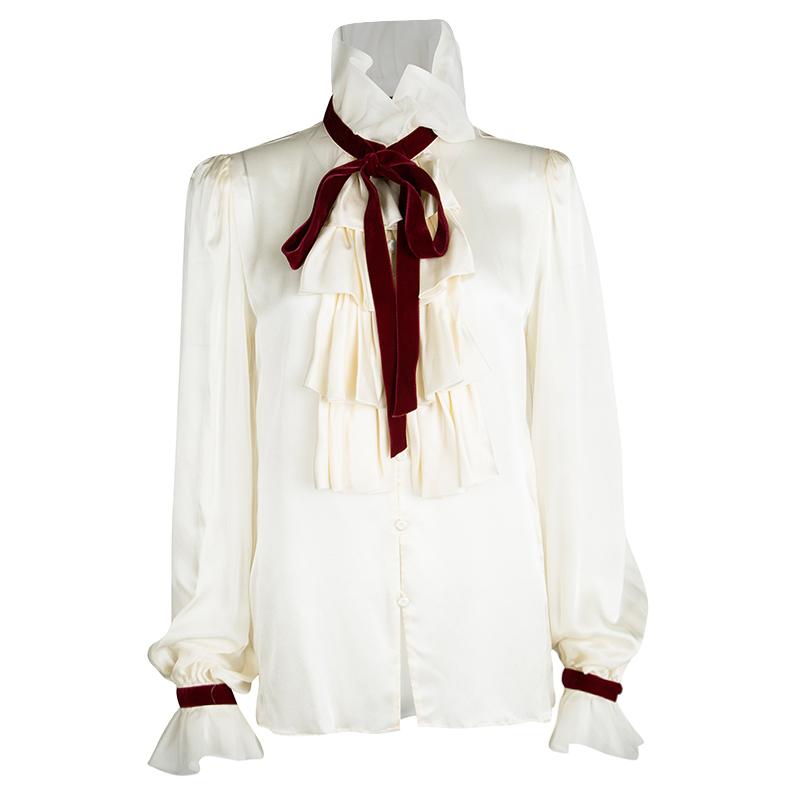 fa51f4e010383b Buy Escada Cream Silk Contrast Velvet Trim Tie Detail Ruffled Blouse ...