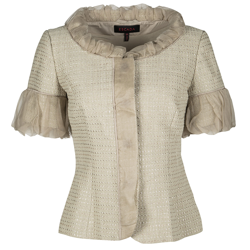 c8f5ff6ca52 ... Escada Beige Textured Silk Trim Short Sleeve Jacket XS. nextprev.  prevnext