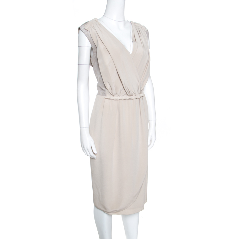 Купить со скидкой Escada Beige Silk Pleated Faux Wrap Sleeveless Tulip Dress L