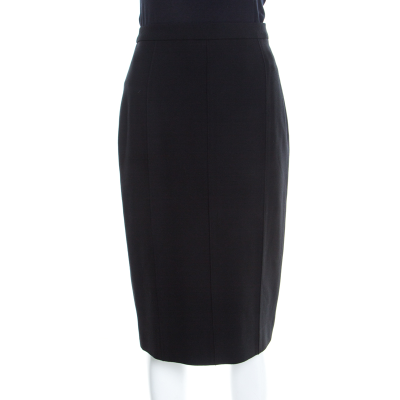 ed148f9073 ... Escada Vintage Black Stretch Wool Crepe Paneled Pencil Skirt M.  nextprev. prevnext