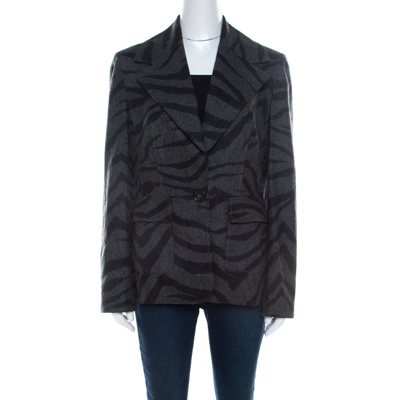 Pre-owned Escada Grey Cashmere Wool Animal Pattern Single Button Blazer M