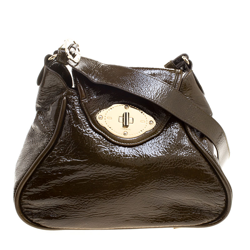 dfb93ac66 ... Escada Olive Green Distressed Patent Leather Crossbody Bag. nextprev.  prevnext