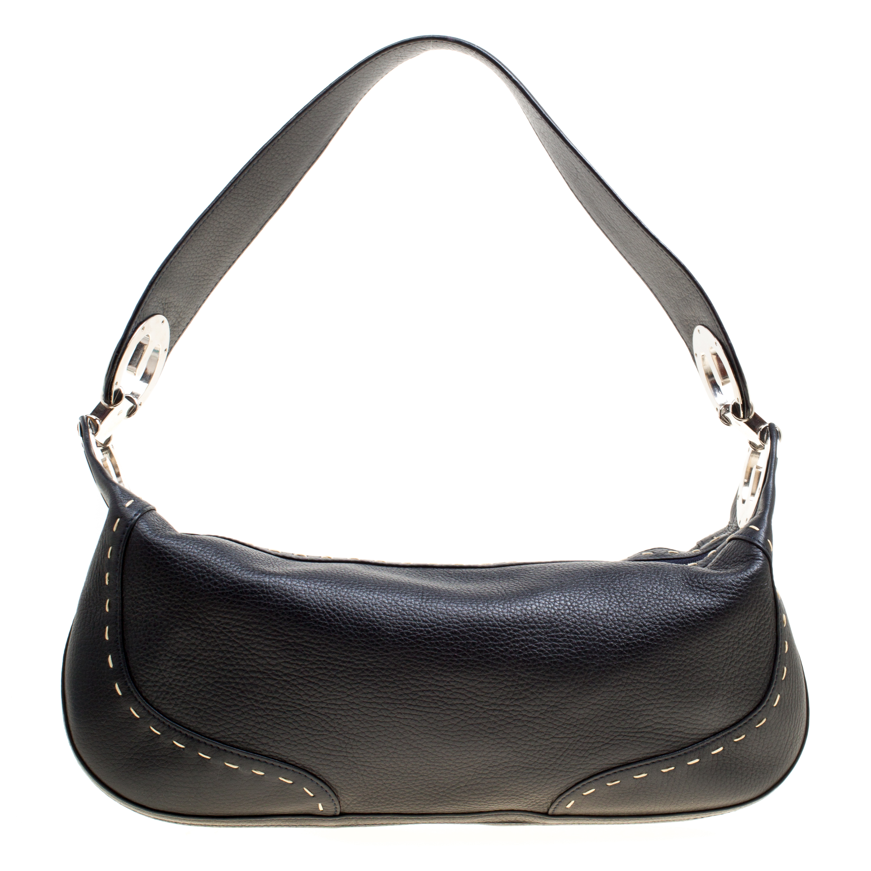Buy Escada Black Leather Eluna Shoulder Bag 161640 at best price  54767307a60f2