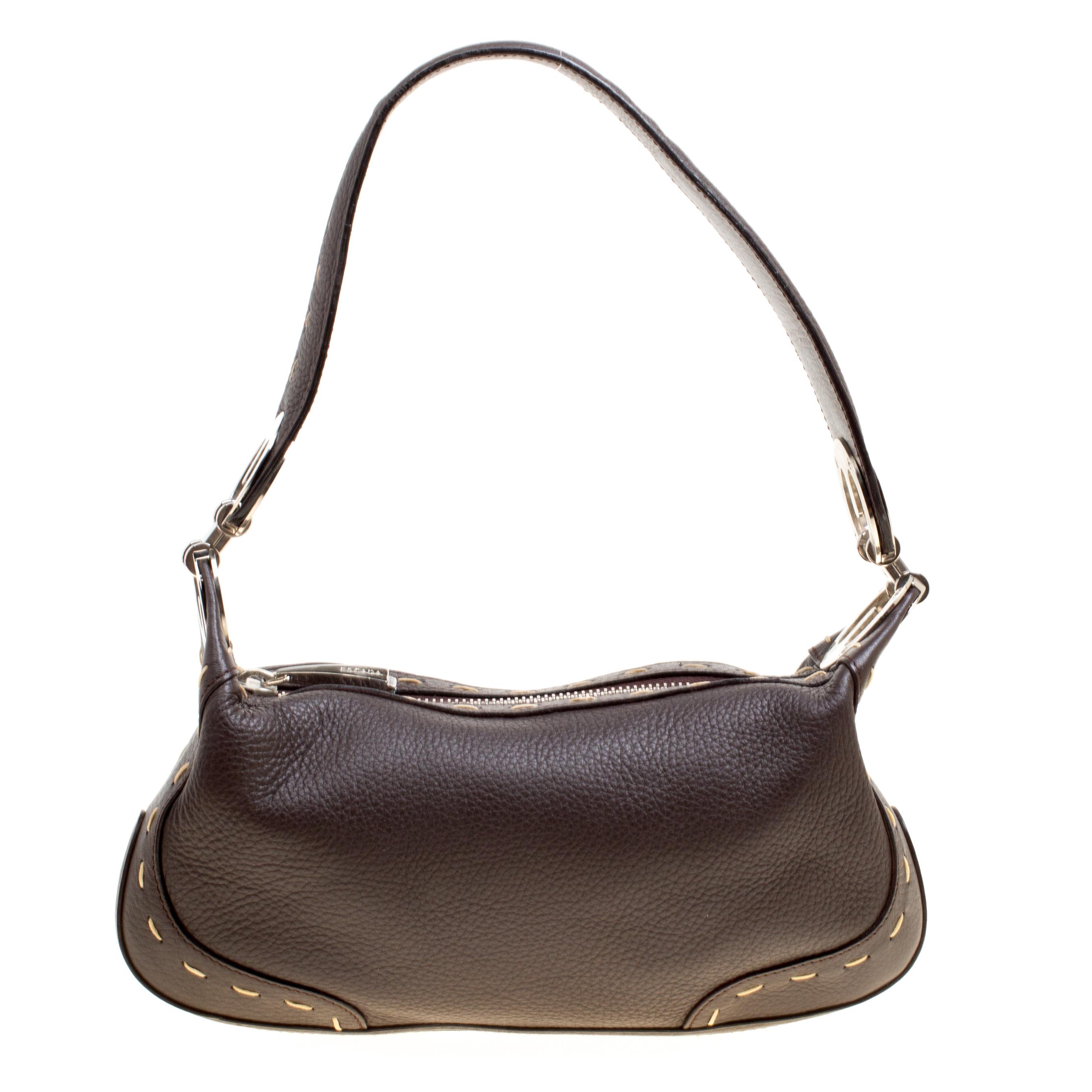 Buy Escada Dark Brown Leather Small Eluna Shoulder Bag 161646 at ... d0d44d81112a7