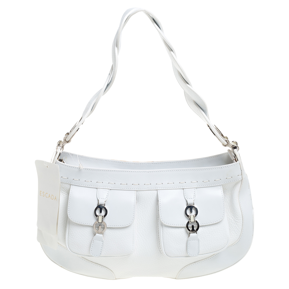 Pre-owned Escada White Leather Double Pocket Braided Handle Hobo
