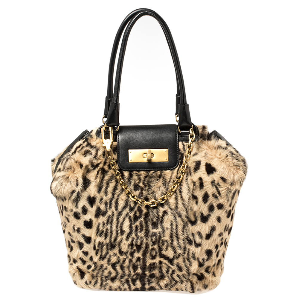 Pre-owned Escada Black/beige Tiger Print Faux Fur And Leather Turnlock Flap Tote