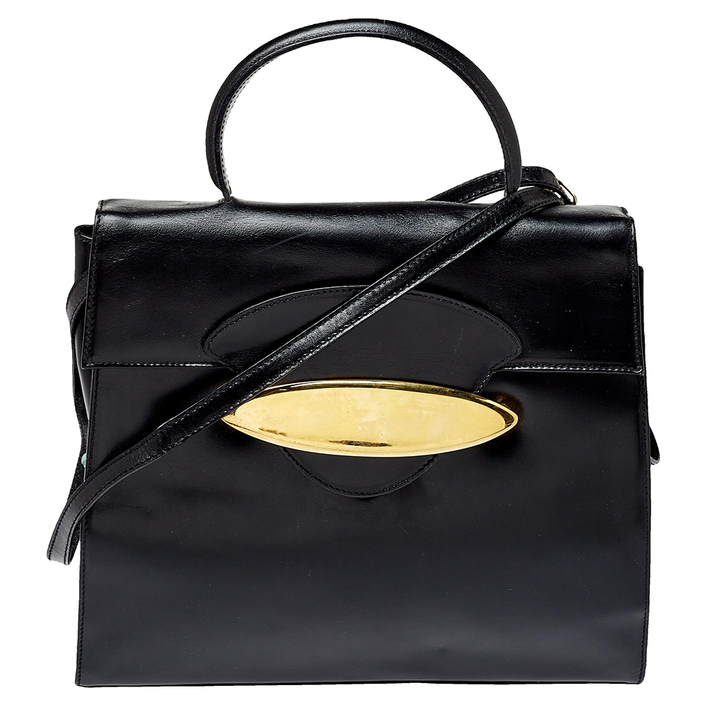 Pre-owned Escada Black Leather Top Handle Bag
