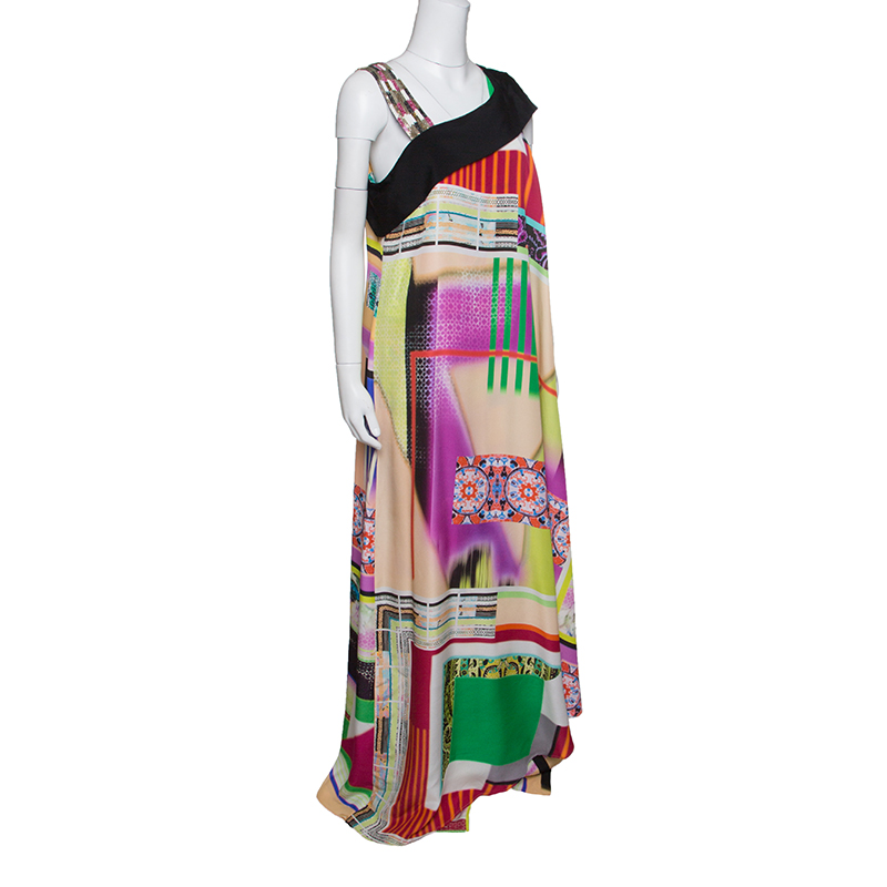 Купить со скидкой Etro Multicolor Printed Silk Embellished Strap Detail Sleeveless Maxi Dress L