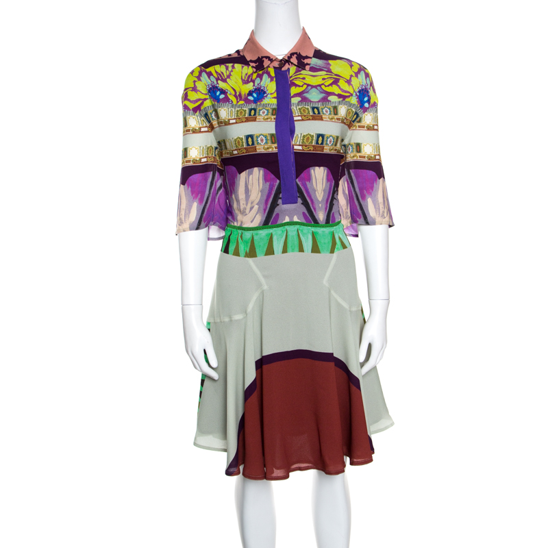 Etro Multicolor Abstract Printed Short Sleeve Flared Dress M