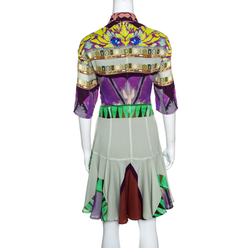 new product 7a901 ec268 Etro Multicolor Abstract Printed Short Sleeve Flared Dress M
