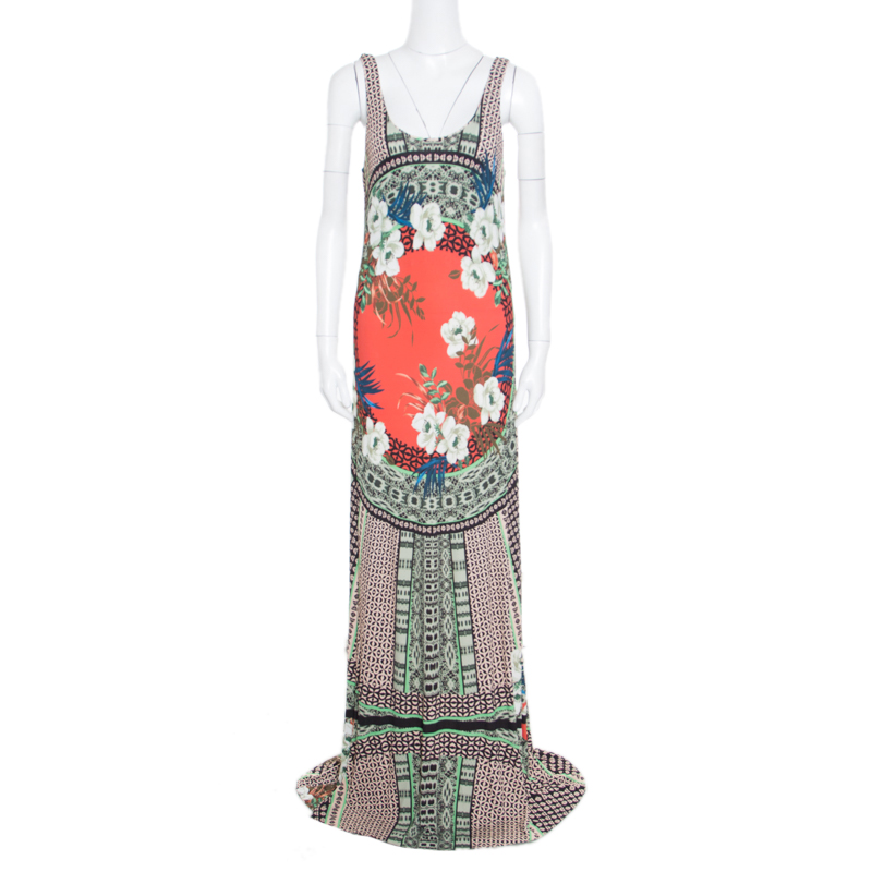 Etro Multicolor Floral Printed Sleeveless Maxi Tank Dress L