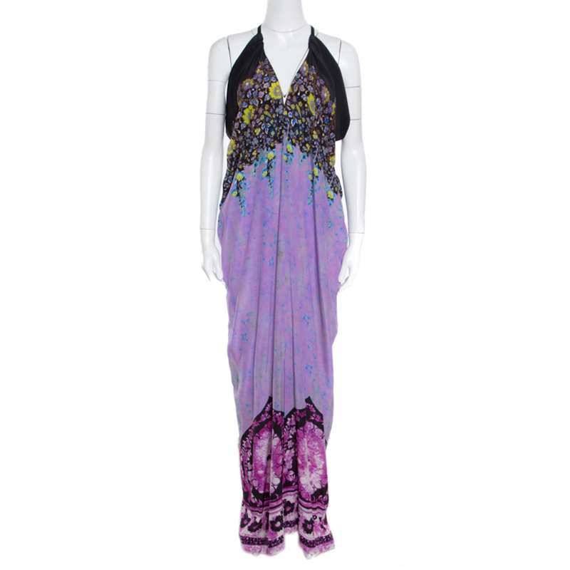 Etro Lavender and Black Floral Printed Sleeveless Draped Maxi Dress L