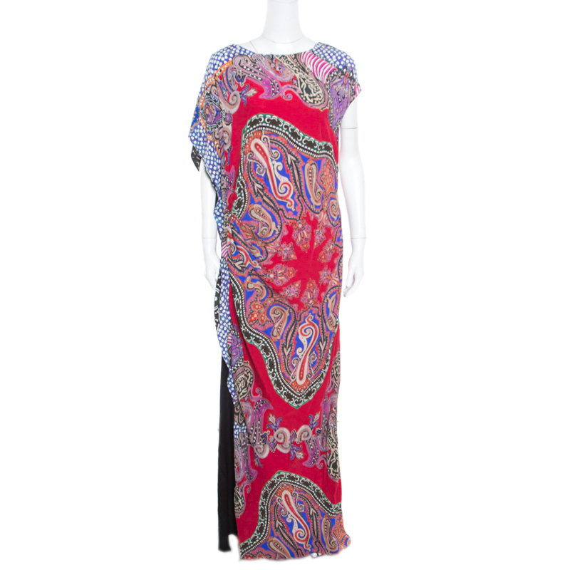 Etro Multicolor Paisley Printed Asymmetric Draped Maxi Dress L