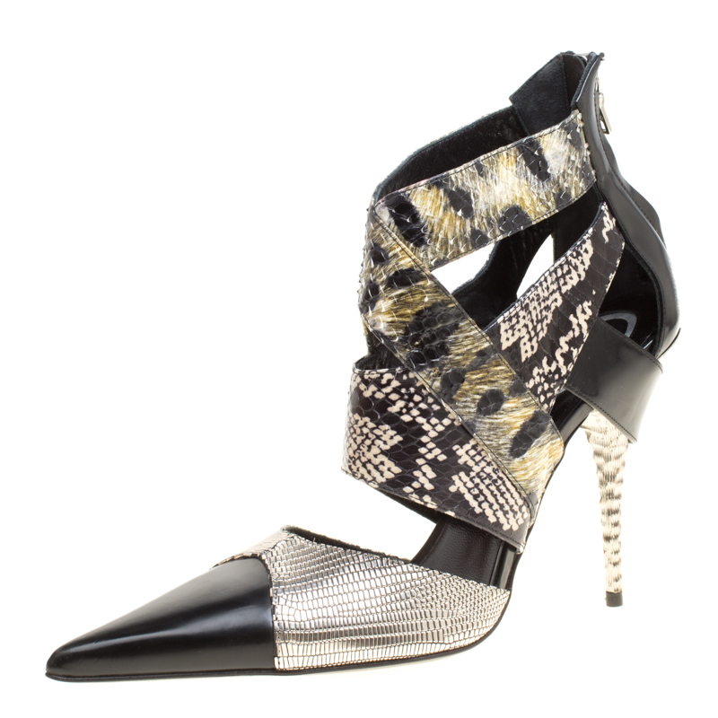 Купить со скидкой Etro Multicolor Snakeskin/Lizard and Leather Pointed Toe Strappy Sandals Size 40
