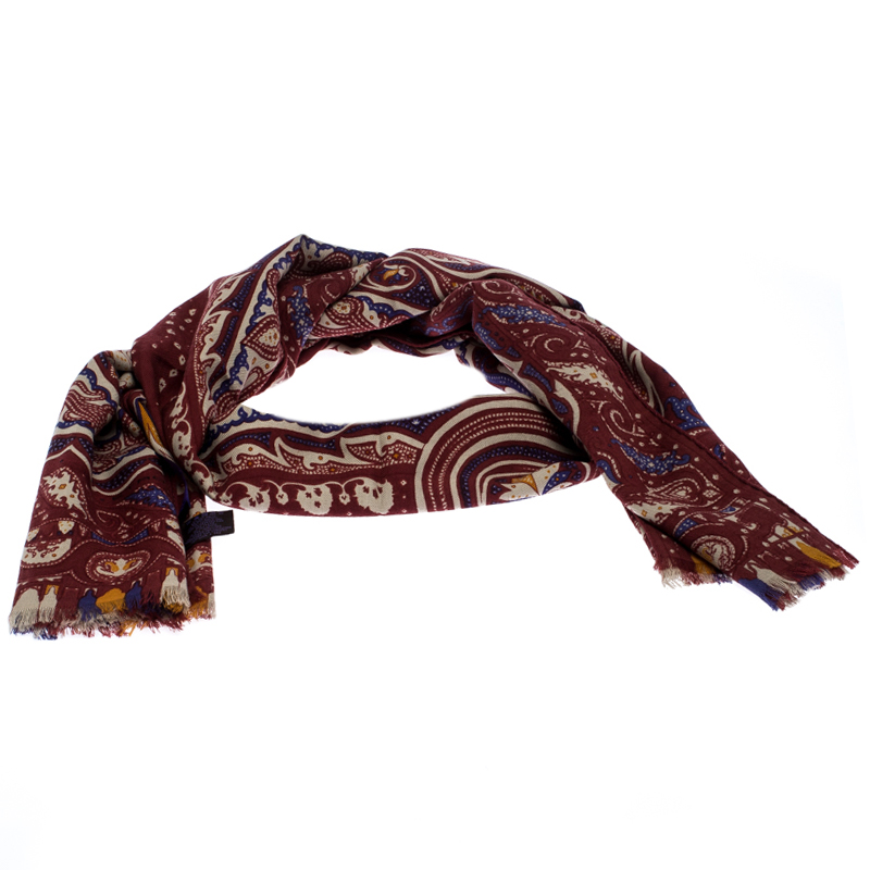 Etro Multicolor Paisley Printed Wool And Silk Blend Scarf