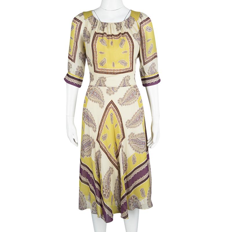 new concept 96e79 c3475 Etro Cream Paisley Printed Silk Short Sleeve Waist Tie Detail Dress M