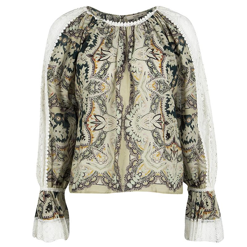 17c440d50d955a ... Etro Paisley Print Lace Trim Long Sleeve Blouse S. nextprev. prevnext