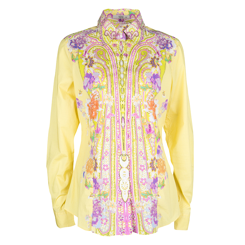 46ad08571883b ... Etro Yellow Floral Printed Cotton Long Sleeve Button Front Shirt L.  nextprev. prevnext