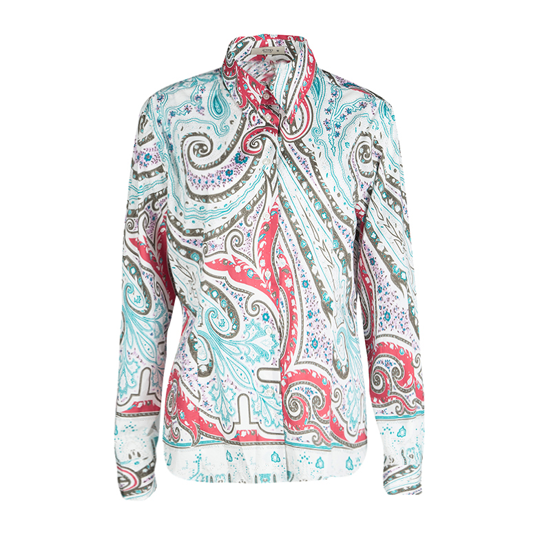 Etro Multicolor Printed Cotton Long Sleeve Button Front Shirt XL