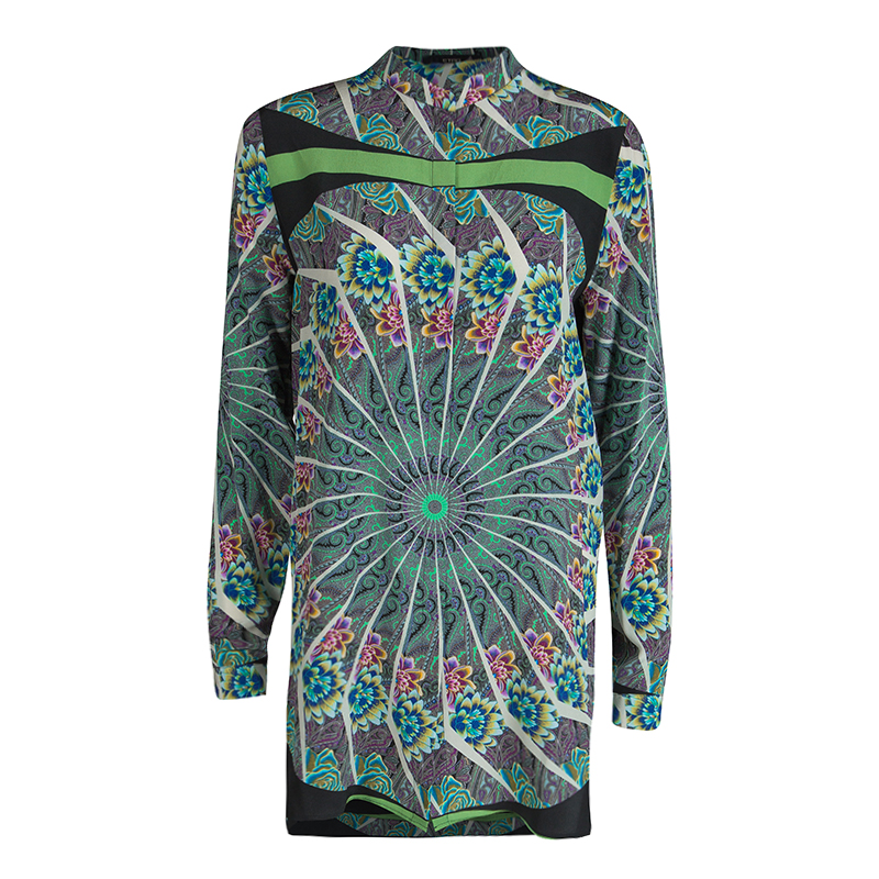 Etro Multicolor Printed Silk Mandarin Collar Long Sleeve Button Front Blouse S