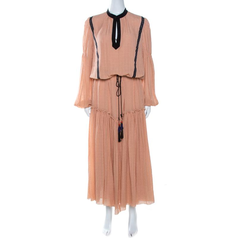 Etro Peach Textured Silk Waist Tie Detail Maxi Dress M In Pink