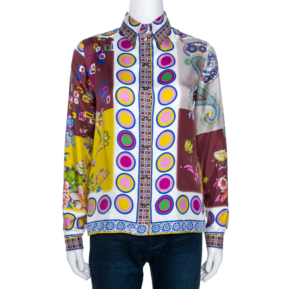 Etro Multicolor Printed Silk Long Sleeve Button Front Shirt S