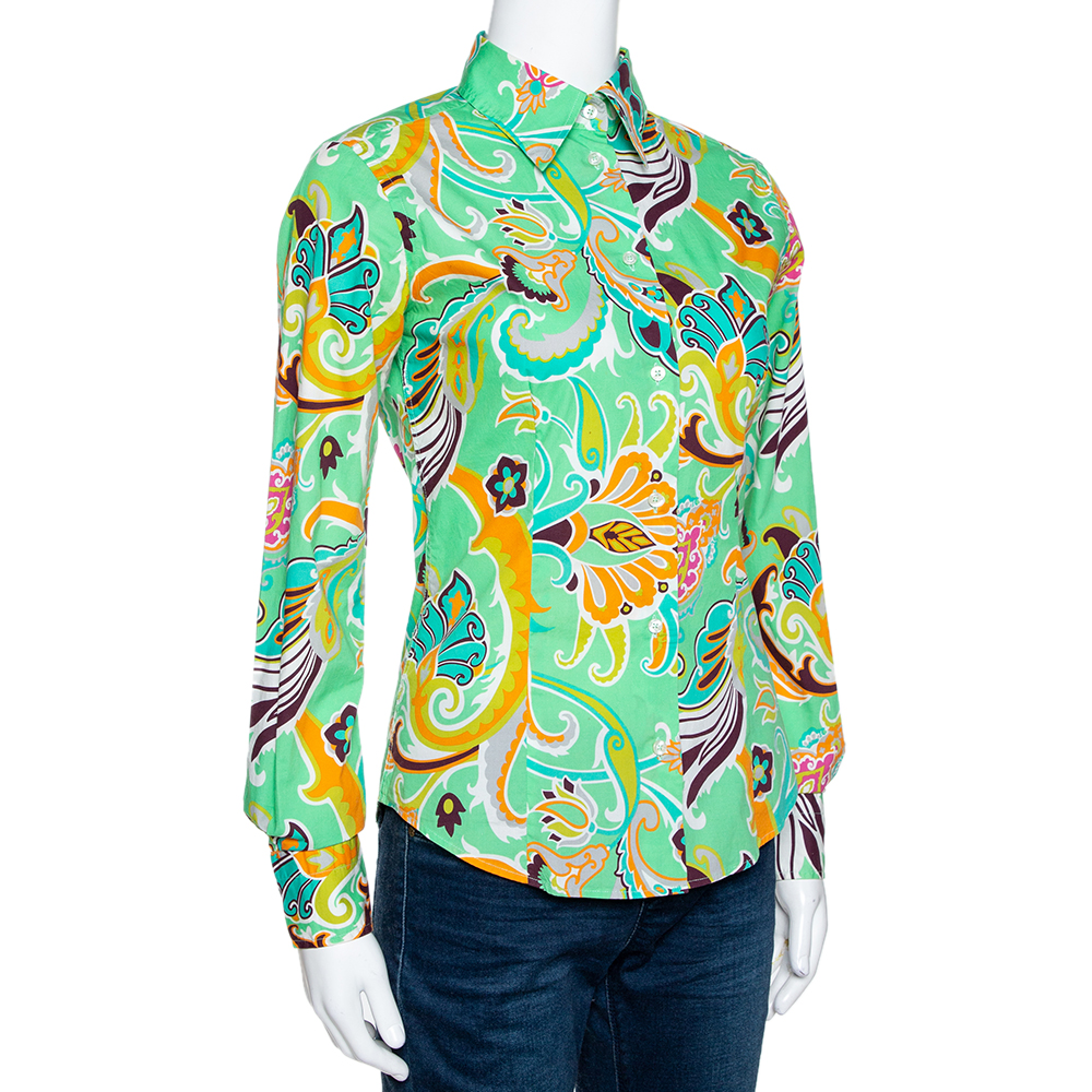 Etro Mint Green Macro Paisley Print Cotton Shirt S  - buy with discount