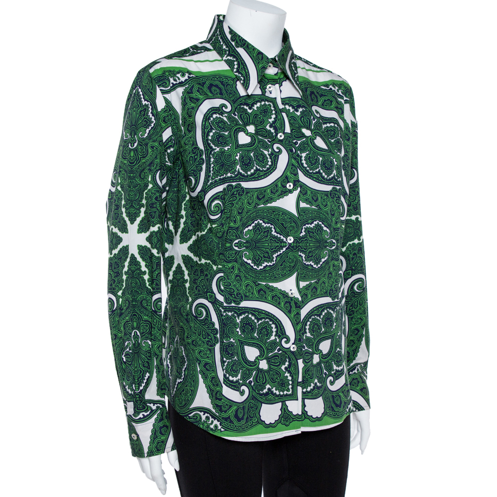 Etro Green Stretch Cotton Paisley Print Button front Shirt