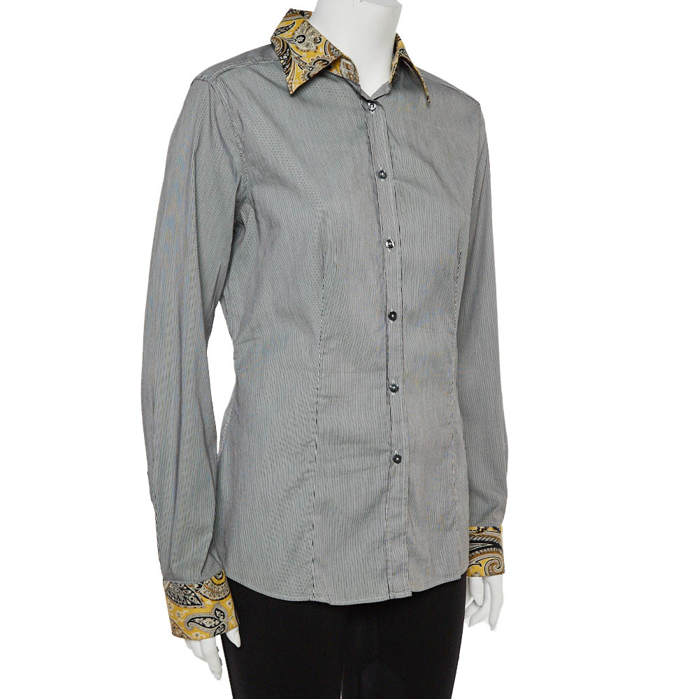 Etro Black and White Cotton Stripe Body with Paisley Print Shirt