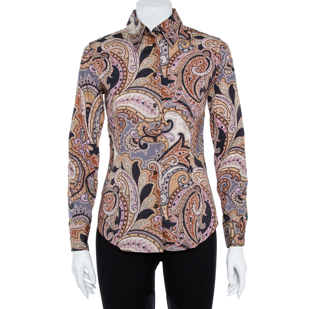 Pre-owned Etro Multicolor Cotton Print Fitted Shirt S