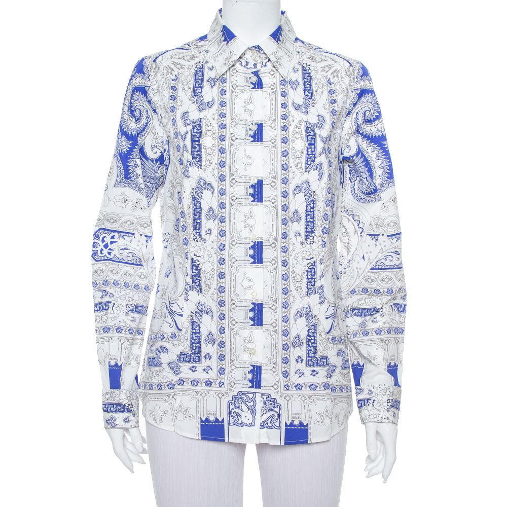 Pre-owned Etro White & Blue Abstract Printed Cotton Button Front Shirt L