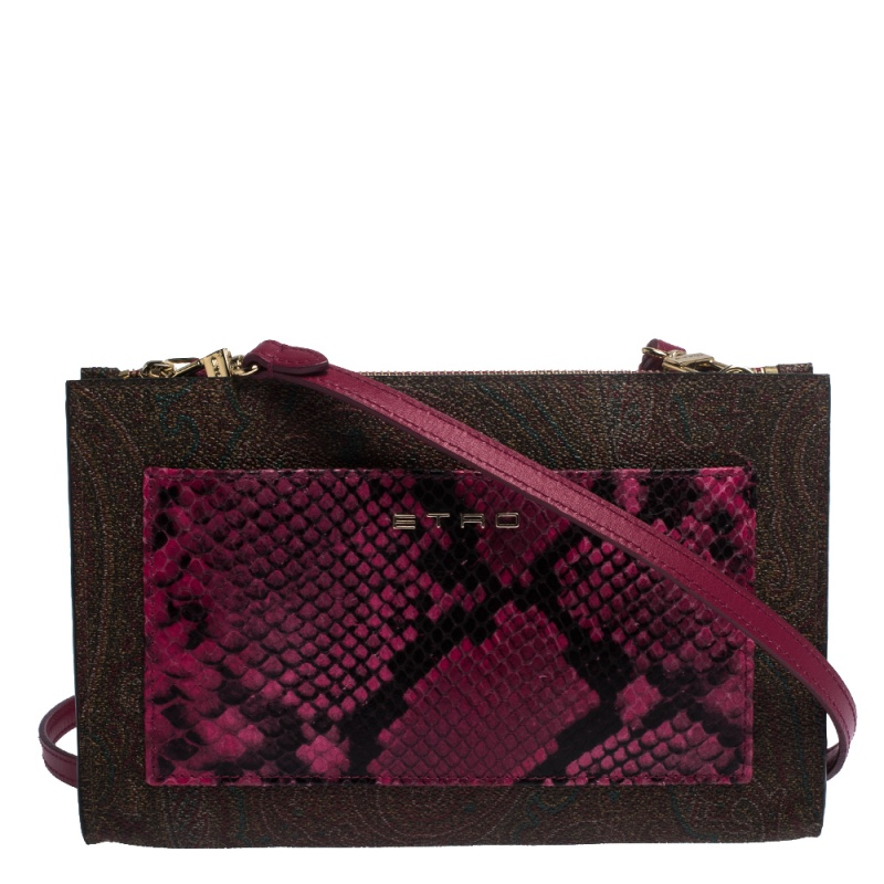 Etro Paisley Printed Coated Canvas and Snakeskin Effect Leather Crossbody Bag