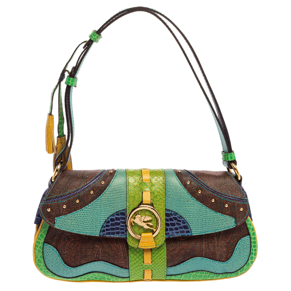Pre-owned Etro Multicolor Paisley Print Coated Canvas And Exotic Embossed Leather Flap Shoulder Bag