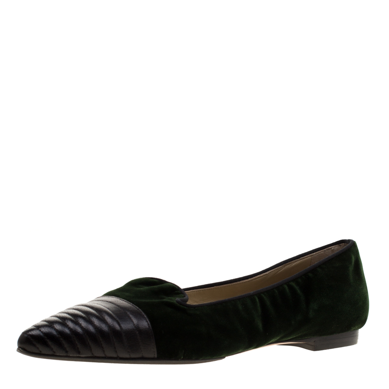 Etro Dark Green Velvet And Black Quilted Leather Pointed Cap Toe Smoking Slipper Size 40