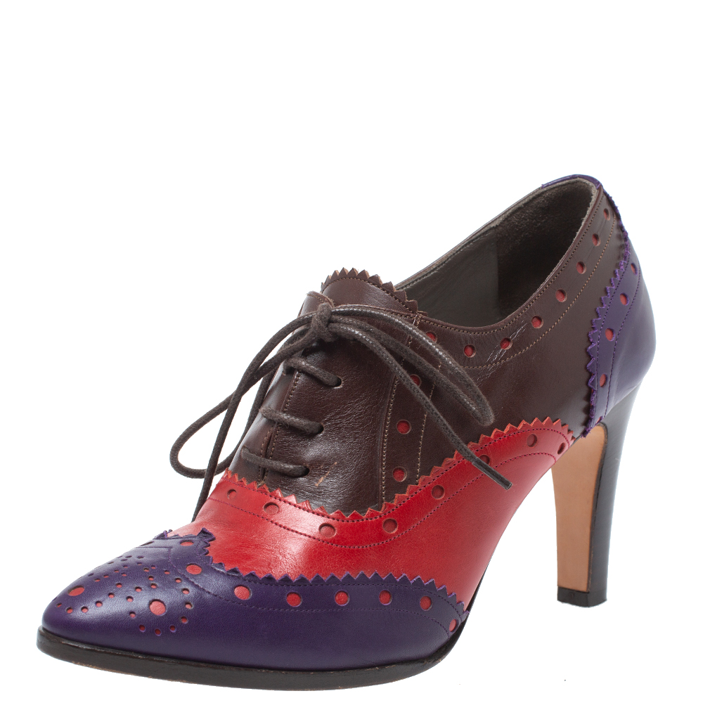 Pre-owned Etro Tricolor Leather Brogue Oxford Ankle Booties Size 36 In Multicolor
