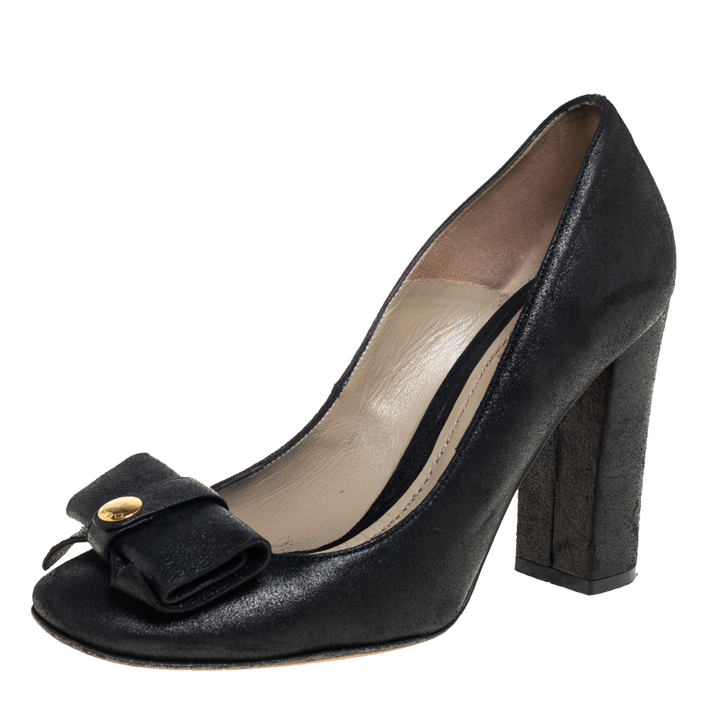 Pre-owned Etro Black Nubuck Leather Bow Block Heel Pumps Size 37