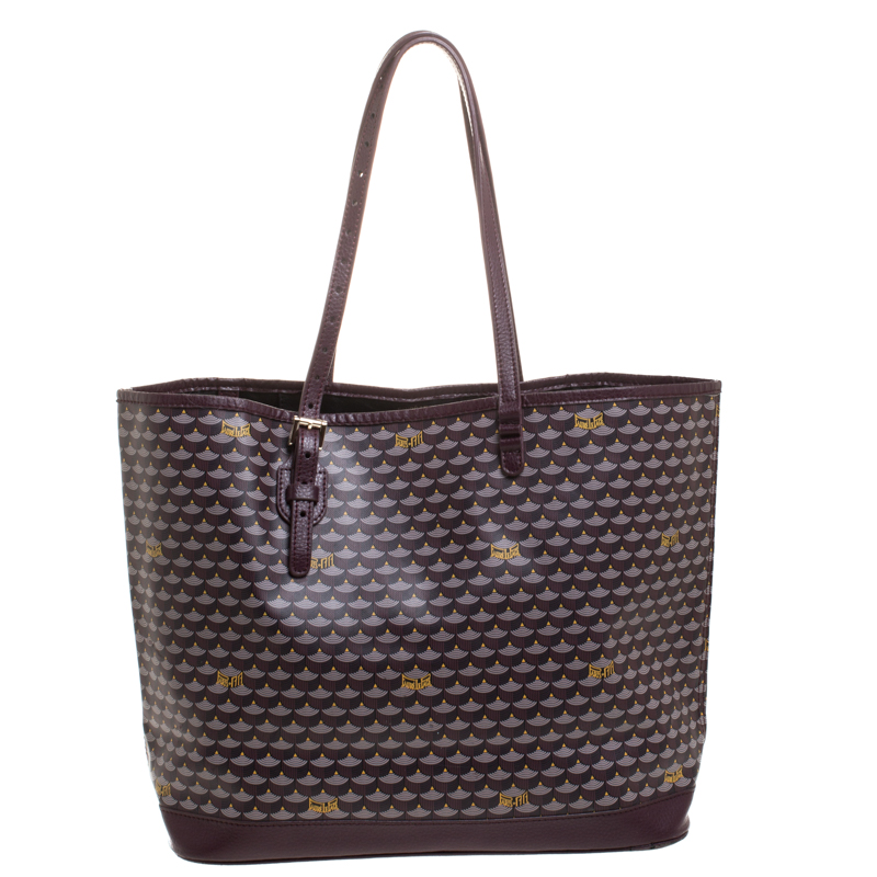 Faure Le Page Burgundy Coated Canvas and Leather Tote