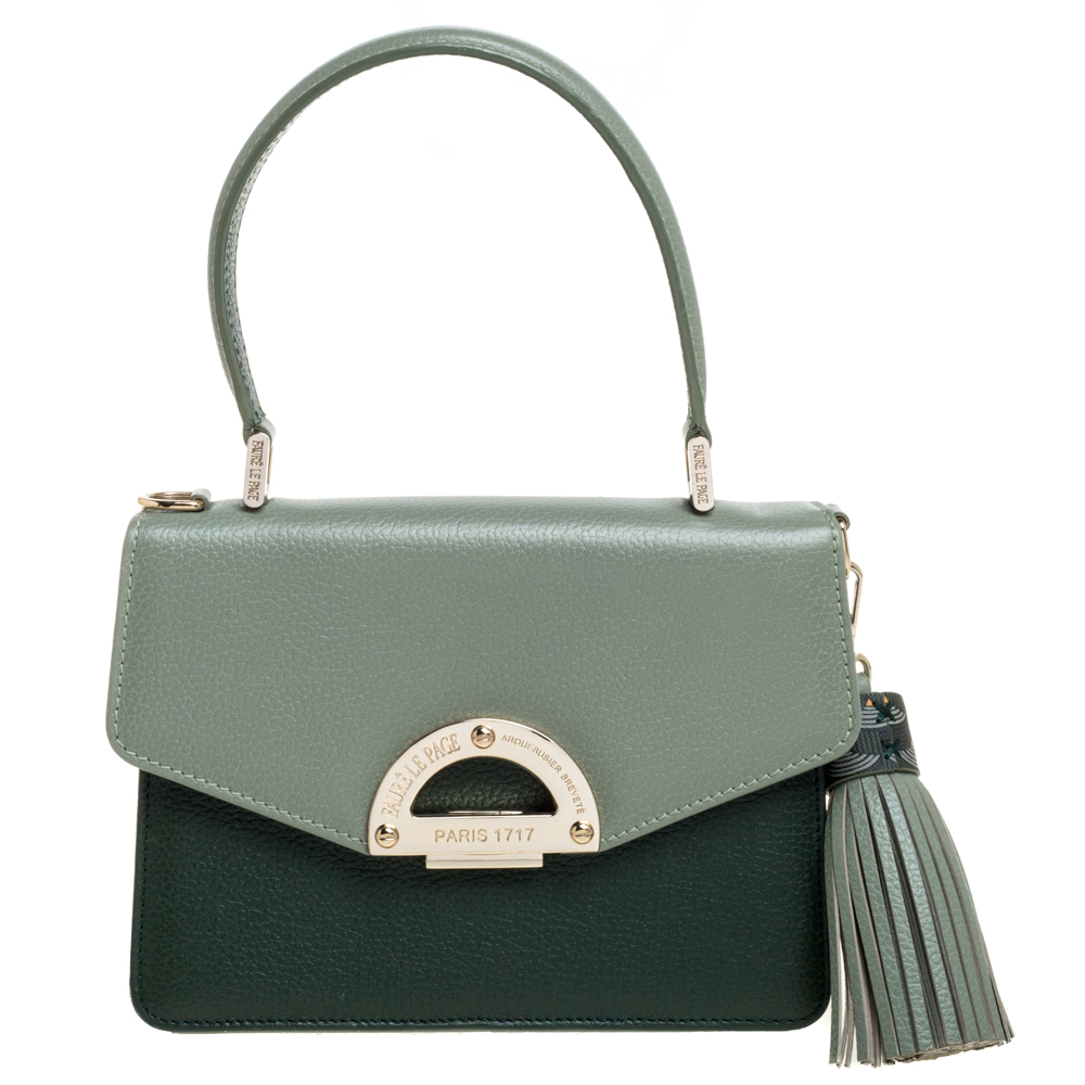 Pre-owned Fauré Le Page Two Tone Leather Parade 19 Top Handle Bag In Green