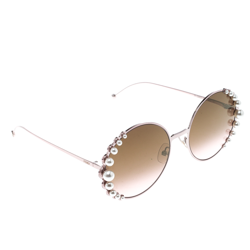 d1a47ce84a0 Buy Fendi Pink Brown Gradient FF0295S Round Pearl Sunglasses 155161 ...