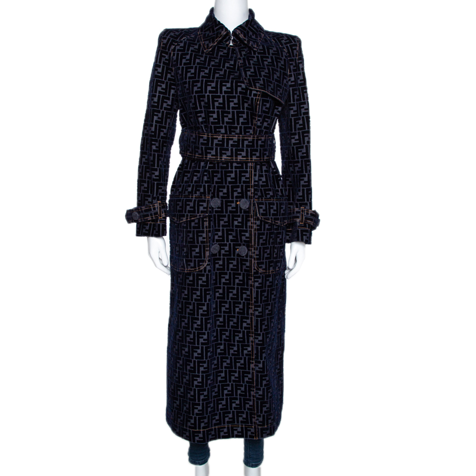 Fendi Blue Zucca Flock Printed Denim Belted Trench Coat S